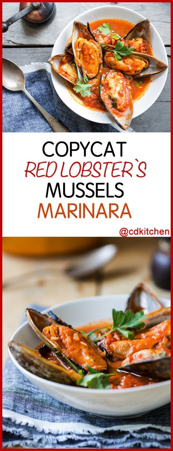 Red Lobster's Mussels Marinara - Simmered mussels in a white wine tomato sauce pair perfectly with pasta and some crusty bread for dipping. | CDKitchen.com