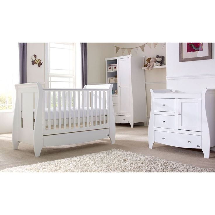 TUTTI Bambini Lucas 3 Piece Bed Top Changer Wardrobe Nursery Furniture Room Set  White