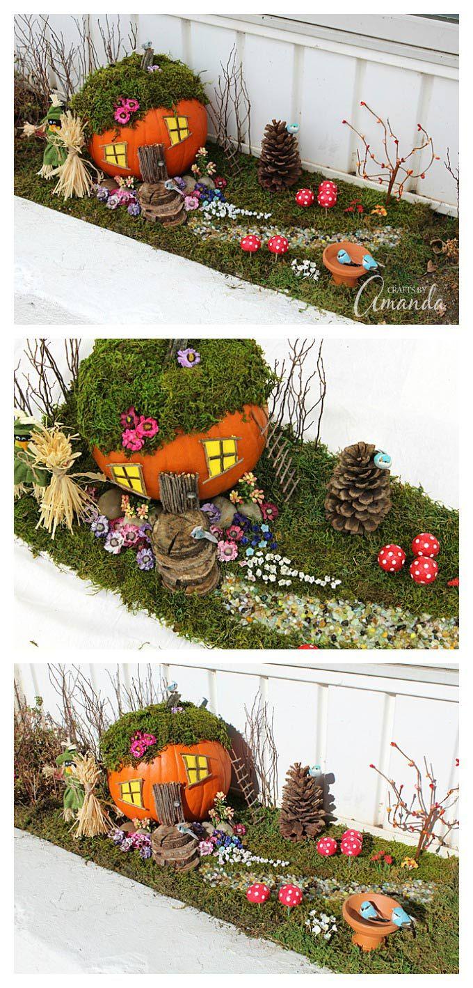 An adorable pumpkin fairy house! Use a pumpkin, natural elements such as twigs…