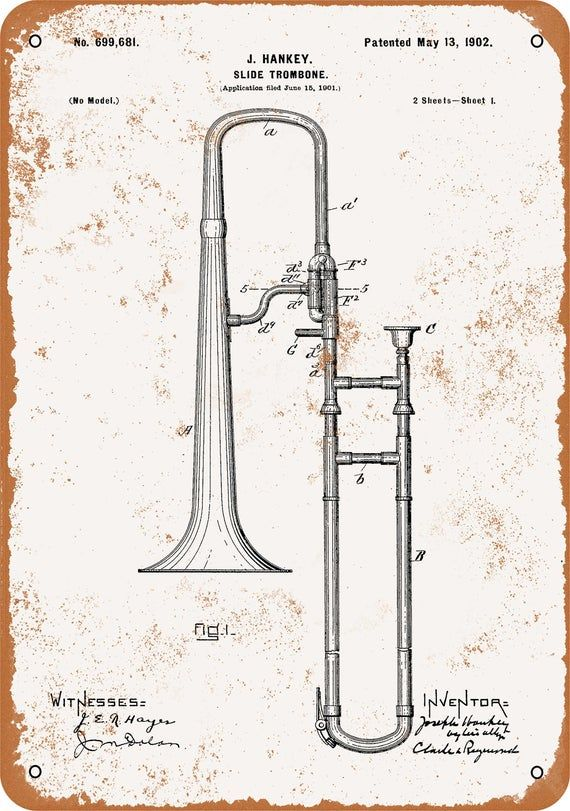 Slide Trombone Patent Print Old Look