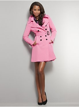 belted double-breasted trench coat....I love itPink Coats, Style, Double Breast Trench, Vs Pink Clothing, Company Pink, Hot Pink Jackets, Pink Trench, Trench Coats, 2Dayslook Pink