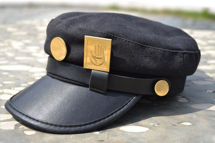 Anime JoJo s Bizarre Adventure Jotaro Kujo Joseph Army Military Cap Hat+Badge