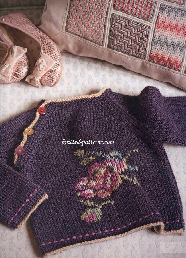 Flower stranded purple sweater