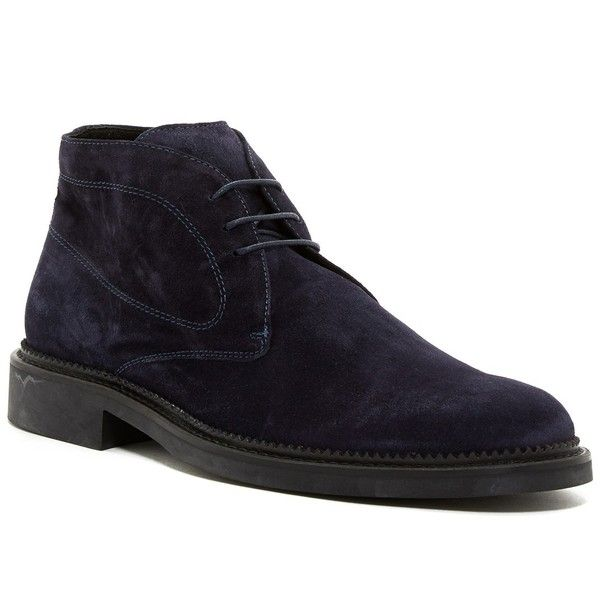 Bugatchi Verona Suede Chukka Boot ($100) ❤ liked on Polyvore featuring men's fashion, men's shoes, men's boots, mens suede boots, mens suede chukka boots, mens round toe dress shoes, mens lace up boots and mens suede lace up boots