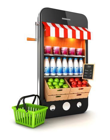 3d supermarket smartphone isolated white background 3d image
