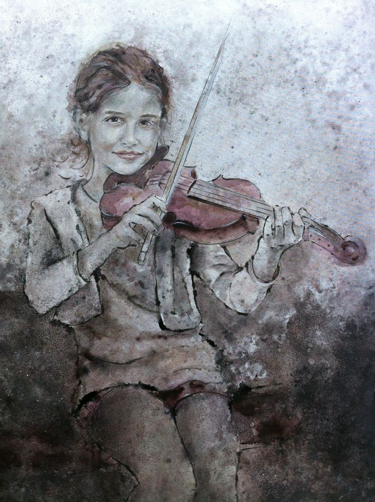 Portrait mixed media, Girl with violin