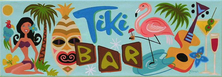 PAINTING MID CENTURY MODERN EAMES RETRO ATOMIC TIKI GOD BAR SIGN FLAMINGO BIKINI