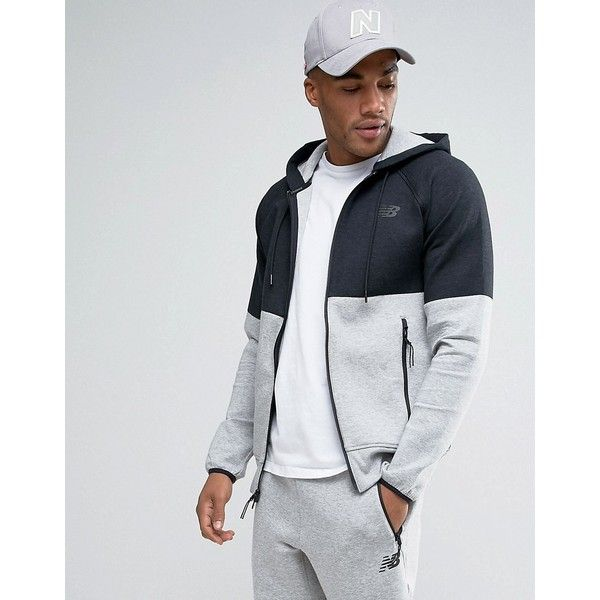 New Balance Split Zip Hoodie In Black MJ63501_AG (140 CAD) ❤ liked on Polyvore featuring men's fashion, men's clothing, men's hoodies, black, mens tall hoodies, mens sweatshirts and hoodies, mens hoodies, mens zip up hoodies and mens zipper hoodies
