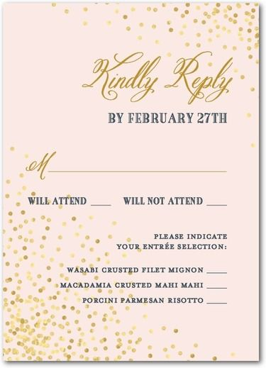 Effervescent Sparkle - Signature White Wedding Response Cards - East Six Design - Chenille - Pink : Front