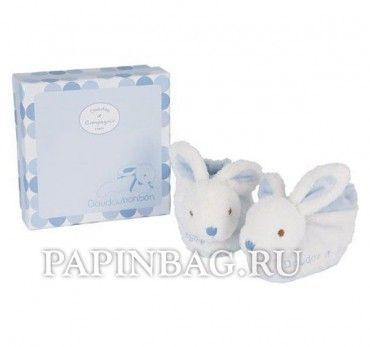 """DOUDOU (Франция) Пинетки детские подарочные """"Lapin bonbon"""", с погремушкой (голубые ушки)"""