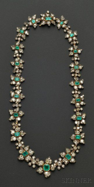 Antique Emerald and Diamond Necklace, France | Sale Number 2510, Lot Number 665 | Skinner Auctioneers