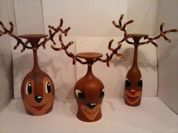 Reindeer Wine Glass Candle Holders