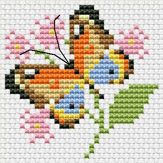 Cross stitch butterfly and chart. Cross stitch pattern PDF - Butterfly on the flower