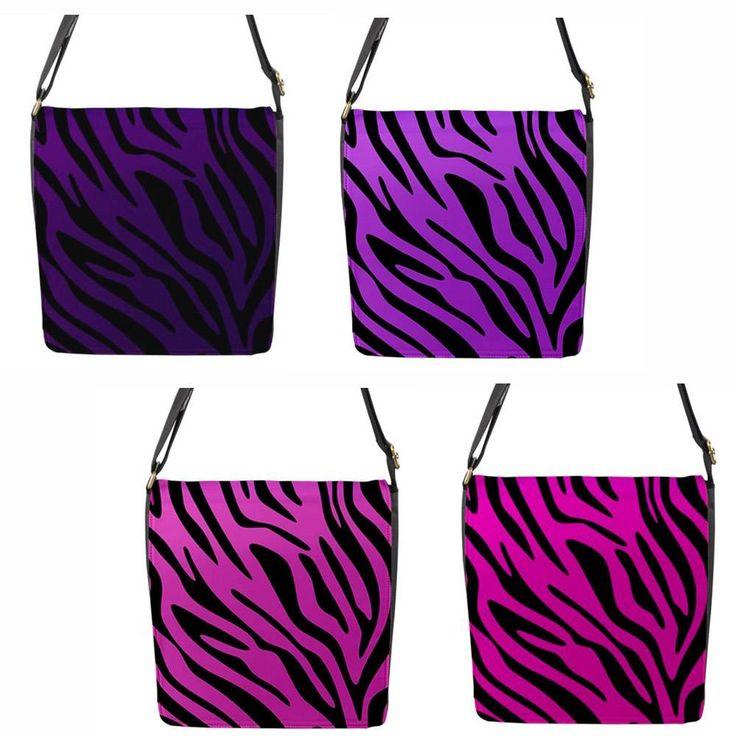 Pink or Purple Zebra Chameleon Removable Flap Shoulder Bag (Regular)