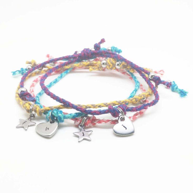 Initial Charm Braided Cord Bracelet - Theta