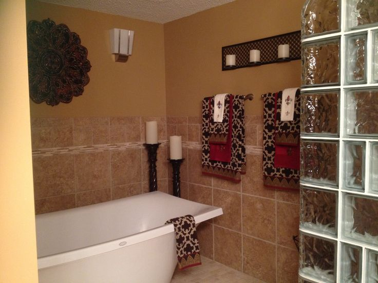 Gold red and brown bathroom home deco pinterest for Brown and red bathroom ideas