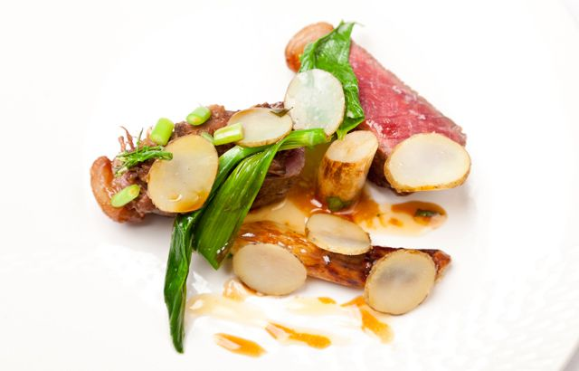 BEEF SIRLOIN WITH WHITE ASPARAGUS, SOLOMON'S SEAL, CRAFT ALE - ALYN WILLIAMS