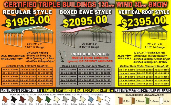 Triple wide metal carport prices chicken ranch house for Triple carport prices