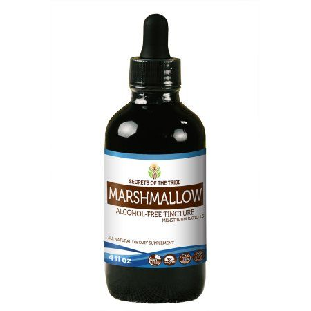 Marshmallow Tincture Alcohol-Free Extract, Organic Marshmallow (Althaea Officinalis) Dried Root 4 oz