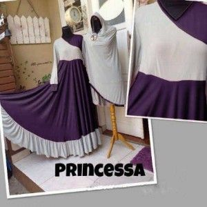 Gaun muslim syar'i modern princessa set bergo ungu