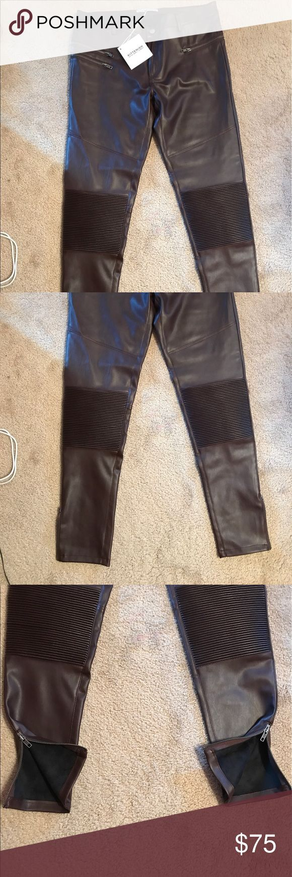 Kittenish leggings. Faux leather  Oxblood leggings. Size large. Zipper detail on both ankles. They do have decent stretch! kittenish Pants Leggings