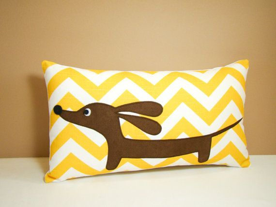 Dachshund Pillow - Doxie Sunshine Chevron Curry White Decorative Pillow. $28.00, via Etsy. For ...