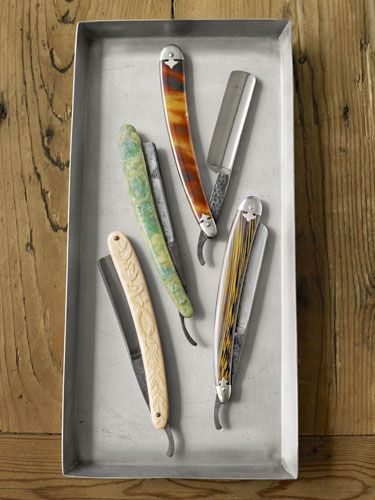 "Straight razors: though they experienced a sharp decline after WW1 troops adopted the safety razor, vintage ""straights"" remain in plentiful supply. These early 20th-century blades have celluloid handles - Barber Shop Supplies - Country Living"