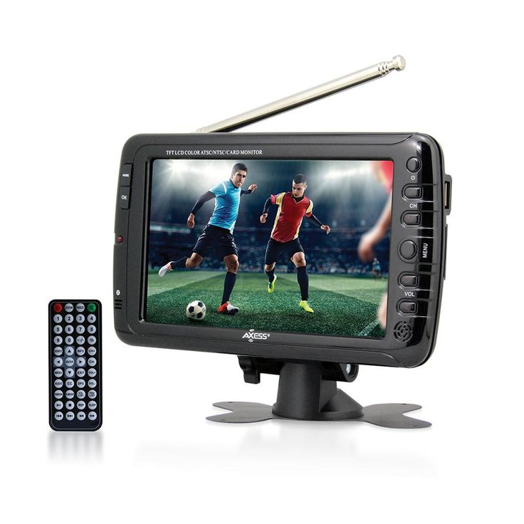 Axess 7 LCD TV with ATSC/NTSC Digital Tuner Built-in Rechargeable Battery and USB/SD Card Reader