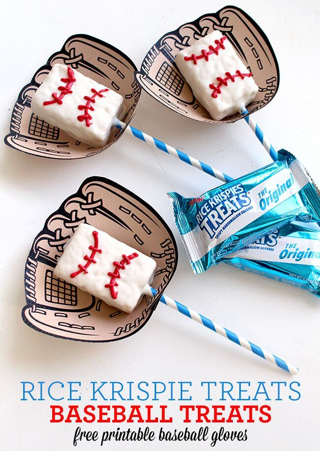Rice Krispie Baseball Game Day Treats with FREE Printable. Baseball snack ideas.