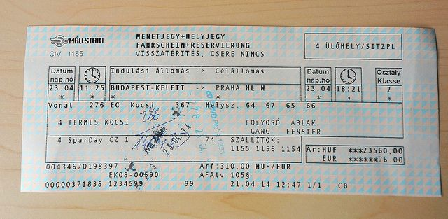 Ticket from Budapest in Hungary to Prague in the Czech Republic only cost 19 euro. Buying Hungrian Train Tickets Online: http://www.europealacarte.co.uk/blog/2014/06/04/buying-hungrian-train-tickets-online/