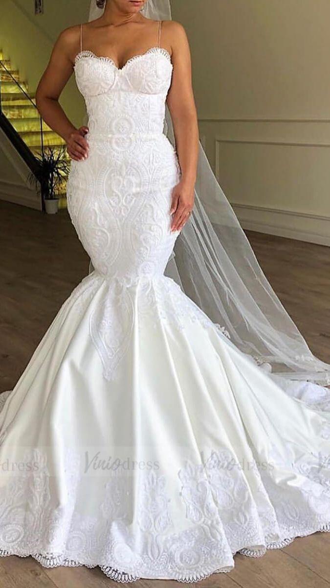 Spaghetti Strap Mermaid Lace Wedding Dresses Lace Up Bridal Dress Vw1365 Trumpet Wedding Dress Lace Gorgeous Wedding Dress Dream Wedding Dresses [ 1200 x 675 Pixel ]