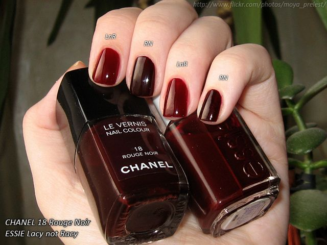 Essie Lacy Not Racy Chanel Rouge Noir Natural Light