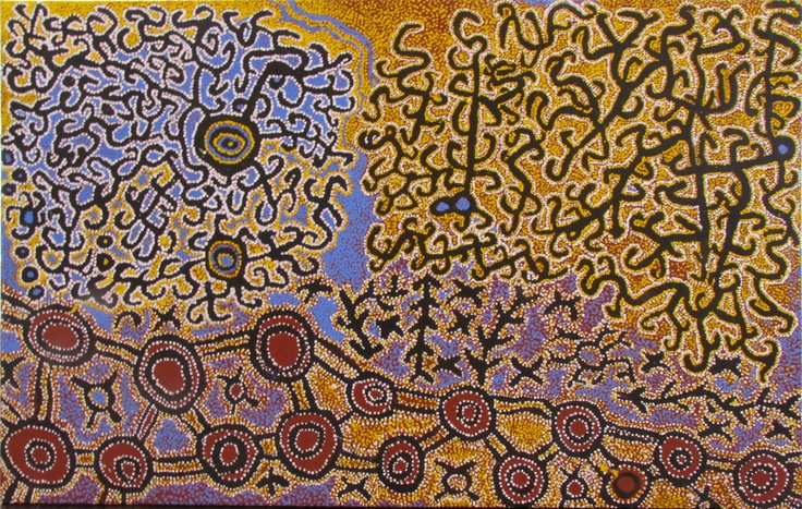 Ned Grant, Walter Hansen, Simon Hogan C431 & FG06608.SHWH Unmatjuu acrylic on linen 106 x 163cm: Aboriginal Paintings, Aboriginal Work, Indigenous Art, Aboriginal Artworks, Art Patterns Texture, Fg06608 Shwh Unmatjuu, Aboriginal Artists, Unmatjuu Acrylics, Aboriginal Hogan