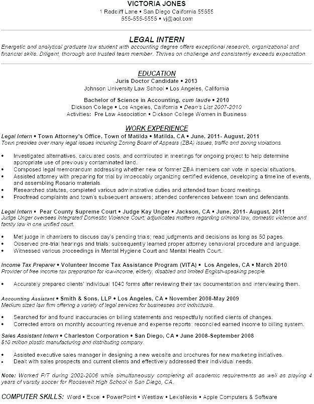 Attorney Resume Templates Law Student Resume Template