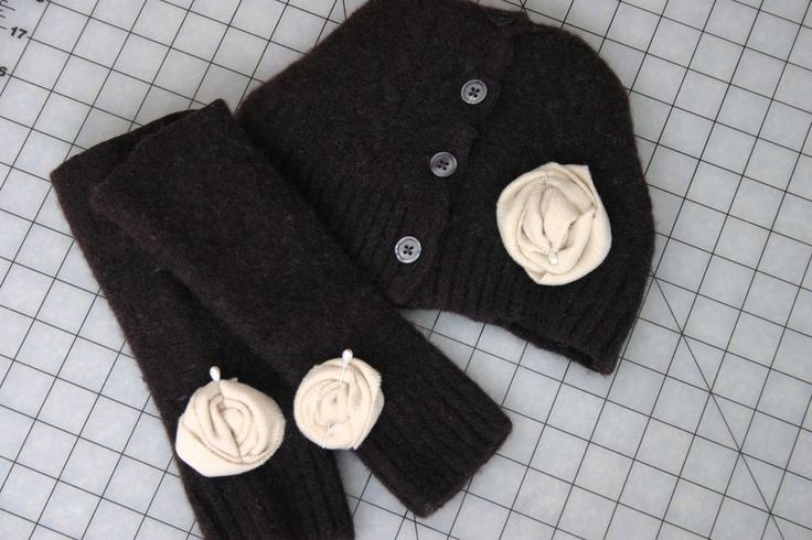 DIY arm wrist warmers & Beanie from repurposing a sweater with Susan Duane