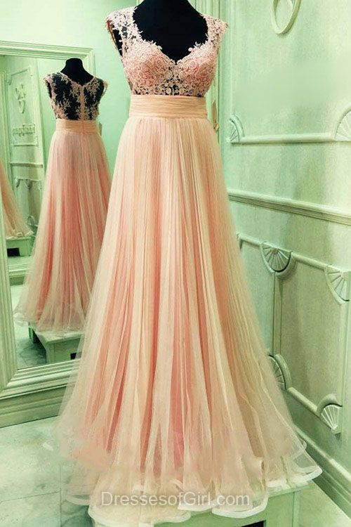 Cheap Prom Dresses, V-neck Party Gowns, Pink Formal Dresses, Tulle Long Evening Dresses, Lace Homecoming Dresses