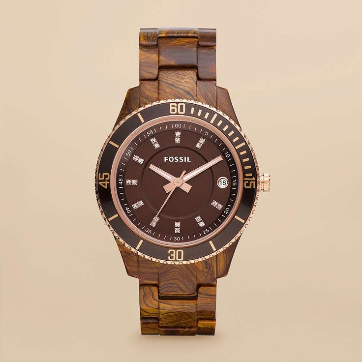 really love this! A little afraid it would be too big on my wrist... but I love the wood and rose gold: Fossil Stella, Fossil Watches, Resin Fossil, Women'S Fossil Watch Rose, Fossil 105, Fossil Women, Rose Gold
