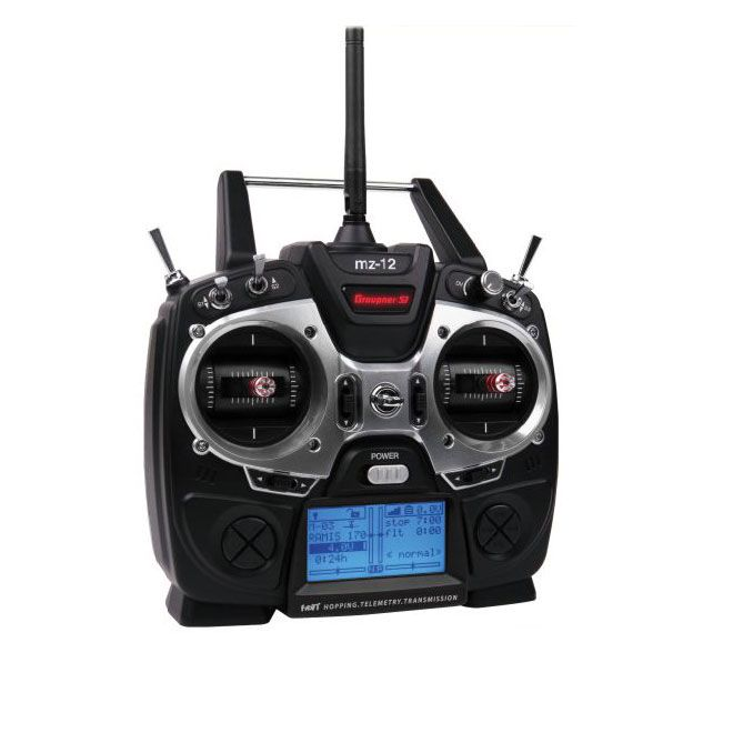 Graupner mz-12 6-Channel HoTT Transmitter. With 6-channel control and built-in, real-time voice telemetry, the mz-12 delivers a new level of connection. Navigating through menus is easy thanks to a high-contrast 128 x 64 LCD blue-illuminated graphic display. Precise quad bearings and adjustable gimbals provide a smooth feel and incredibly accurate flight control.