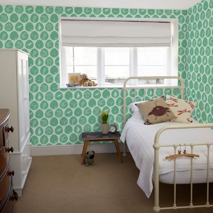 A welcome addition to a bedroom with this exciting boys wallpaper from PaperBoy's Which Came First Wallpaper Collection.  Available at Go Wallpaper UK
