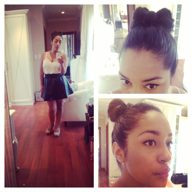 Friday Fun! #Leather skirt, #bow-bun &liquid eye!