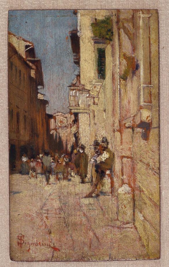 Telemaco Signorini. Una via di Empoli. Oil on board, c. 1877.