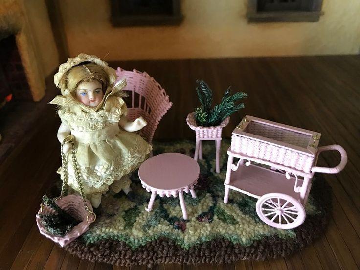 VTG 1:12 Dollhouse Miniature Signed 'KBM' Pink Wicker Child's Furniture Set 5 pc #KBM #bubblegumpink #artisansignedwicker #wickerfurniture #vintageminiatures #ooakminiatures #dollhouseminiatures #crazymagpie