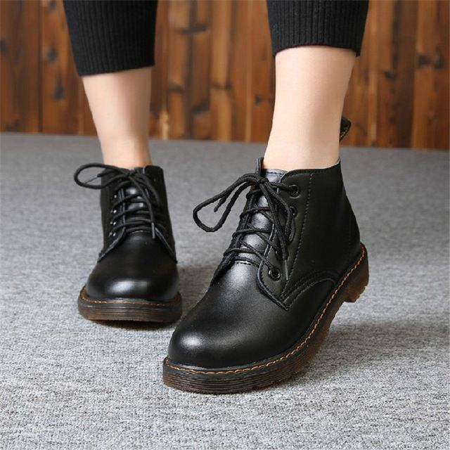 Winter Spring Women Fashion Ankle Boots Campus Style High Top Lace-up Shoes 2016 Leather Dr Martin Boots  High Top Shoes