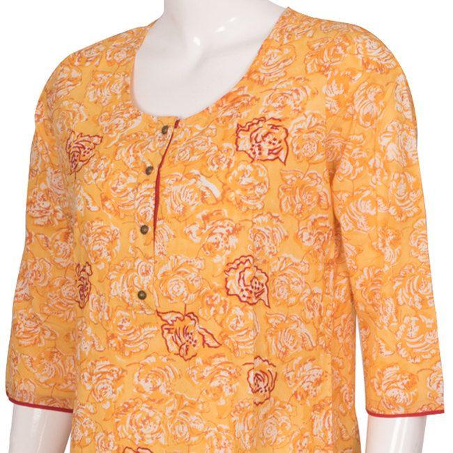 Buy online Hand Block Printed Yellow Cotton Kurta With 3/4th Sleeve 10012922