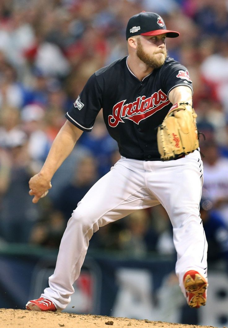 Cleveland Indians Cody Allen closed out the Toronto Blue Jays,  pitching a 1-2-3 9th inning, game 2 of the ALCS at Progressive Field, in Cleveland, Ohio on Oct. 15, 2016.   Indians won 2-1.   (Chuck Crow/The Plain Dealer)
