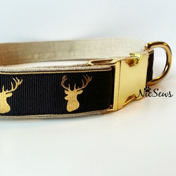 Deer hunter dog collar, hunting dog collar, Gold dog collar, Fancy dog collar, Modern dog collar, Antlers, Metallic dog collar-(1 wide) This is as close