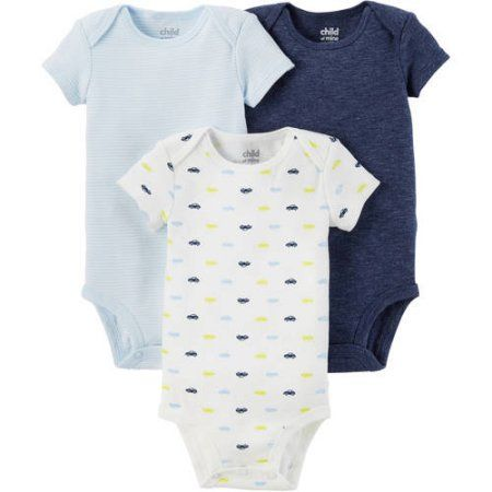 75ea61ce4db6f Child of Mine by Carter's Newborn Baby Boy Basic Short Sleeve 3 Pack  Bodysuit, Size: 6 - 12 Months, Blue