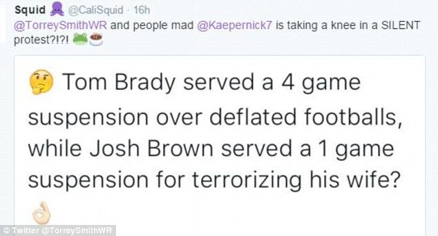 A Twitter user compared Tom Brady's four-game ban for his role in the Deflategate scandal with Brown's punishment