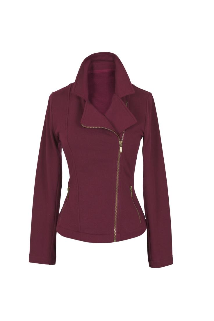 Burgundy Biker-style Jacket