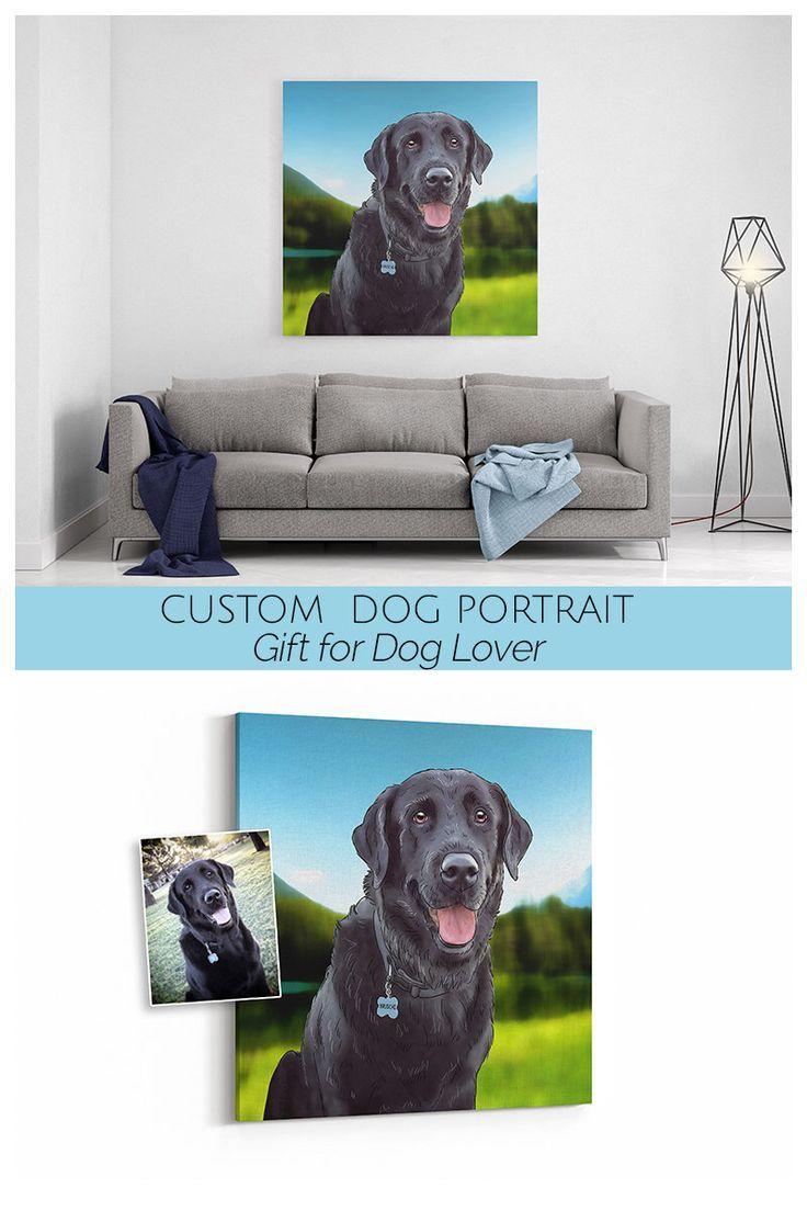 Cartoon Dog Portrait Print On Canvas Digital Pet Illustration Lover Birthday Gift Idea